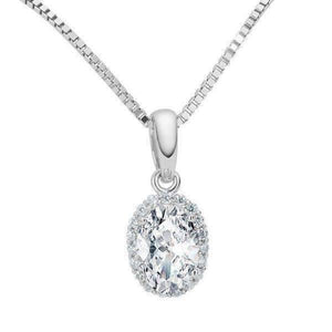 Layla .75CT Oval Cut Halo IOBI Simulated Diamond Pendant