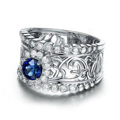Léonie En Bleu .80CT Filigree Band IOBI Cultured Diamond Ring