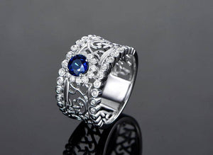Léonie En Bleu .80CT Filigree Band IOBI Simulated Diamond Ring