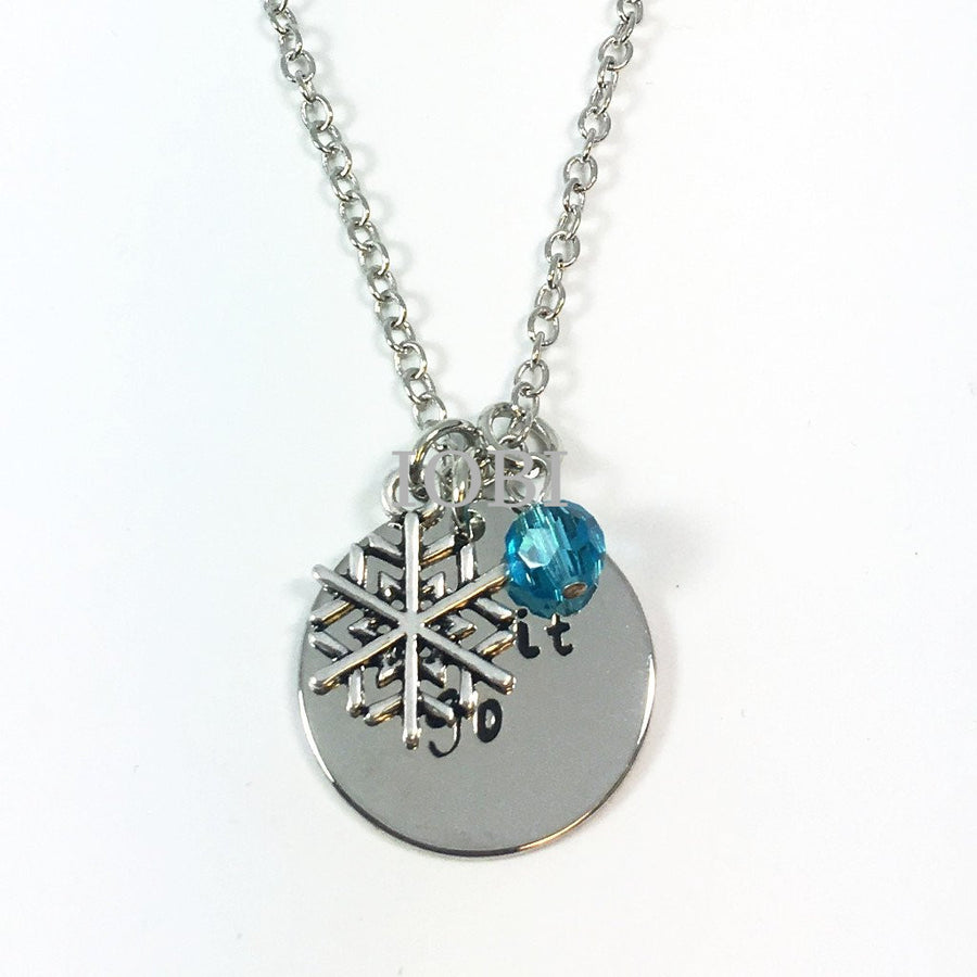 """Let It Go"" Stamped Princess Necklace"