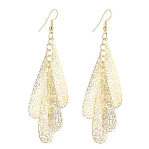 ON SALE - Four Layer Dangling Teardrop Earrings in Gold or Silver