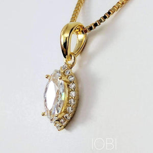 Loralei .5CT Marquise Cut Halo IOBI Simulated Diamond Solitaire Pendant