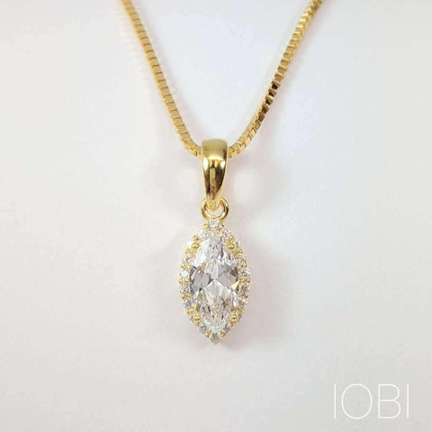 Loralei .5CT Marquise Cut Halo IOBI Cultured Diamond Solitaire Pendant