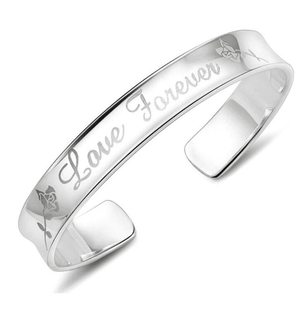 ON SALE - Love Forever Silver Cuff Bangle Bracelet