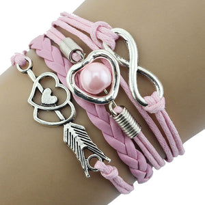 Forever Love Handmade Braided Leather Friendship Bracelet For Woman or A Girl- Six Colors To Choose
