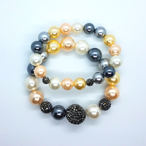 Multi Color Shell Pearl and Hematite Stretch Bracelet Set