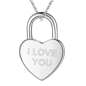 I Love You Heart Shaped Padlock Silver Necklace