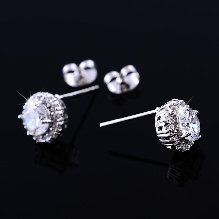 14K White Gold Plated Luxe Halo Crystal Stud Earrings For Woman