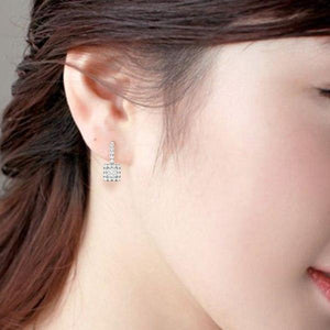 Lyra .40CT Princess Halo IOBI Simulated Diamond Earrings