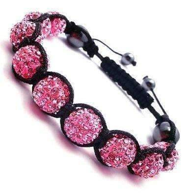 ON SALE - Sparkly Magenta Crystals Hand Made Shamballa Bracelet