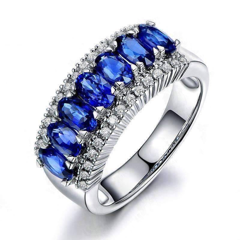 ON SALE - Charlaine En Bleu 3.5CTW Oval and Pavé Band IOBI Simulated Diamond Ring