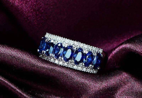 Charlaine En Bleu 3.5CTW Oval and Pavé Band IOBI Cultured Diamond Ring