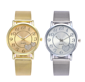 ON SALE - Glittery Hearts Ladies Mesh Band Watch