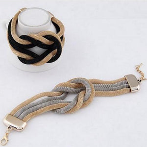 Mesh Chain Knot Bracelet in Silver and Gold