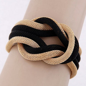 Mesh Chain Knot Bracelet in Black and Gold