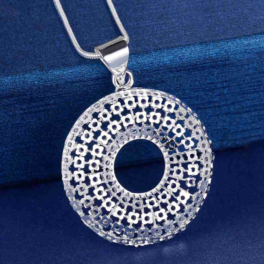 Chain Maille Wreath Medallion Silver Necklace