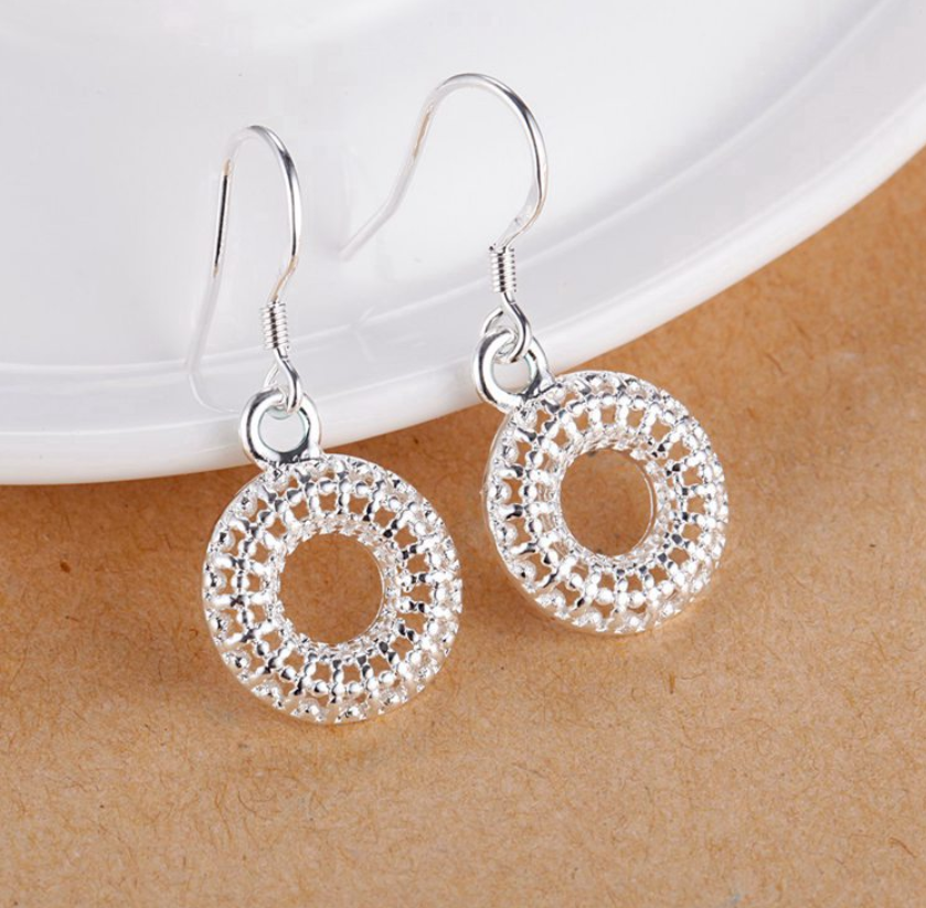 Mesh Wreath Silver Earrings