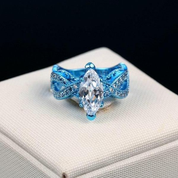 Electric Blue Marquise Cut CZ Solitaire Ring