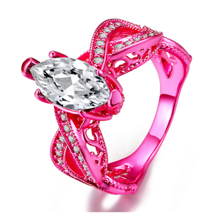 Metallic Pink Marquise Cut CZ Solitaire Ring