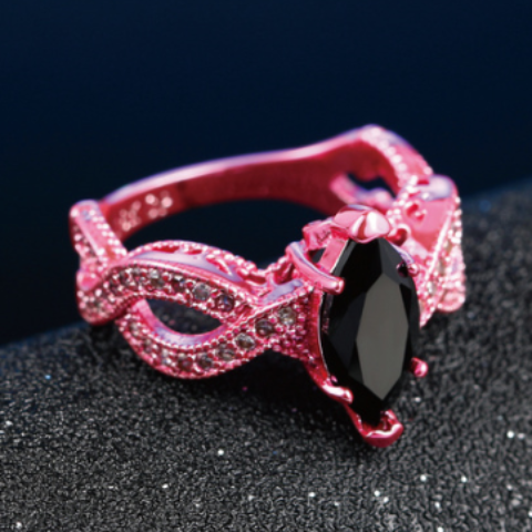 Metallic Pink Marquise Cut Black CZ Solitaire Ring