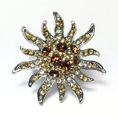"ON SALE - ""Mocha Starburst"" Adjustable Stainless Steel Cocktail Ring"