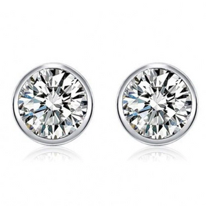 Modérna Bezel Set IOBI Simulated Diamond Solitaire Stud Sterling Silver Earrings for Women