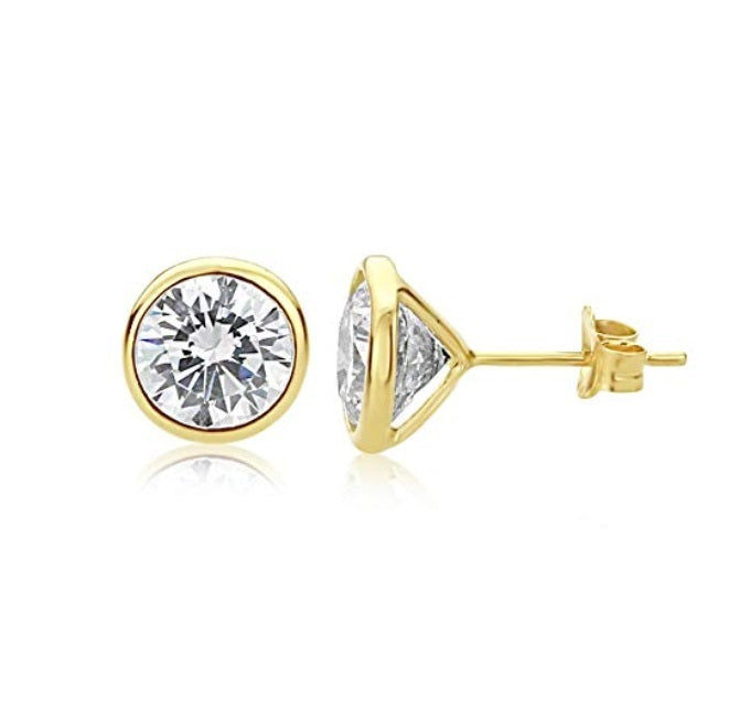 Modérna D'ora Bezel Set IOBI Simulated Diamond Solitaire Stud Earrings
