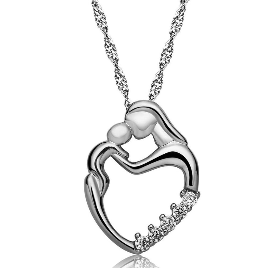 Always In My Heart Mother & Child Love CZ 14K Gold Plated Necklace for Women Special Occasion Birthday Valentines Day