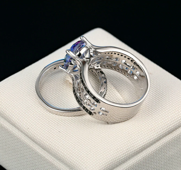 Mystical Moonlight CZ Engagement Ring Set