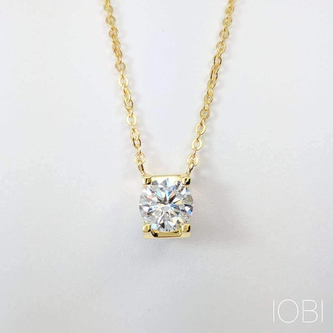 Natasha 1CT Tension Set IOBI Cultured Diamond Solitaire Pendant