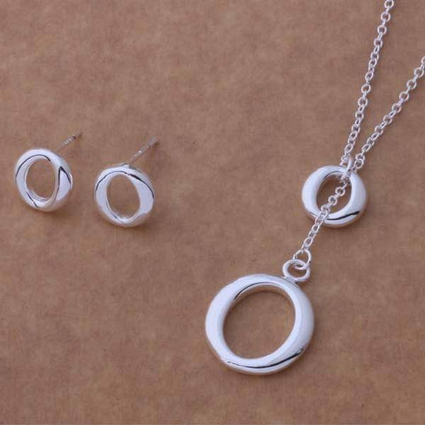 O Yes Sterling Silver Necklace & Earrings Set