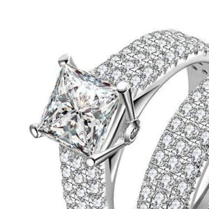 Odette 1.50CT Princess Cut Pavé Wedding Band Set IOBI Simulated Diamond Rings