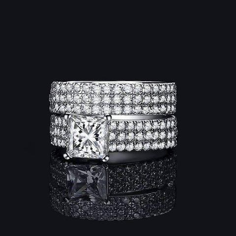 Odette 1.50CT Princess Cut Pavé Wedding Band Set IOBI Cultured Diamond Rings