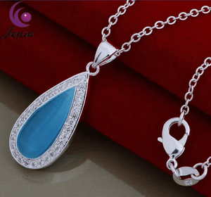 Oceanic Aqua Pearl Cat Eye Waterdrop Necklace
