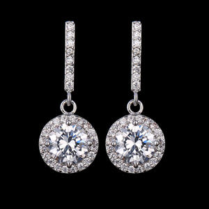 ON SALE - Operetta Halo Zirconia Bar Drop Earrings