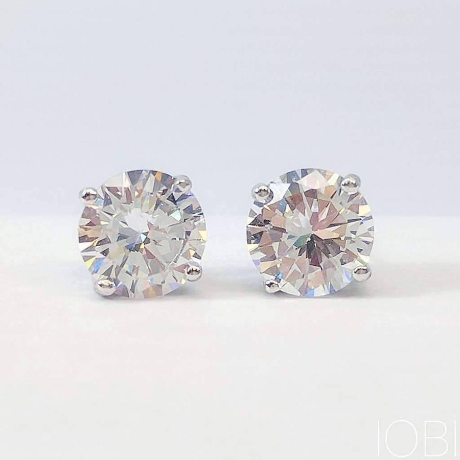 Feshionn IOBI Earrings Opulence Round IOBI Cultured Diamond Solitaire Stud Earrings