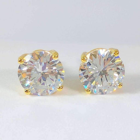 Opulence Round IOBI Cultured Diamond Solitaire Stud Earrings