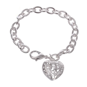 CLEARANCE - Petite Fancy Puffed Heart Charm Bracelet