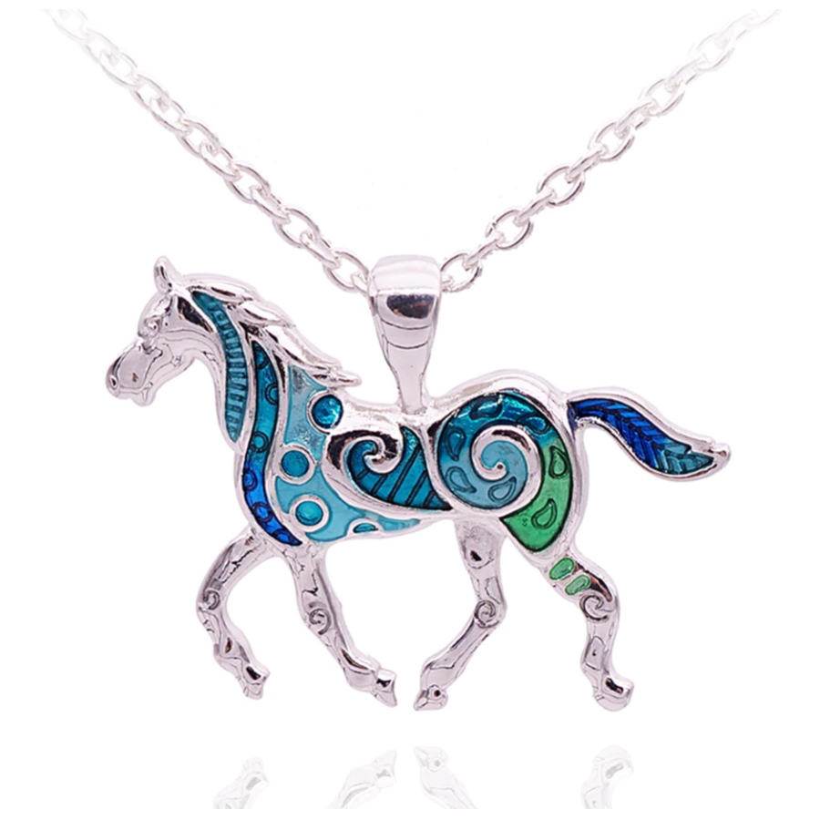 ON SALE - Painted Pony Enamel Horse Pendant Necklace