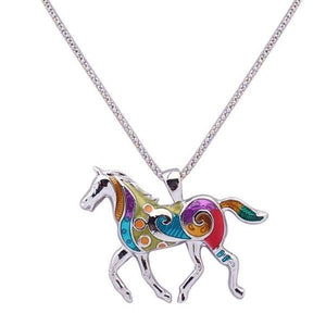 Painted Pony Enamel Horse Pendant Necklace