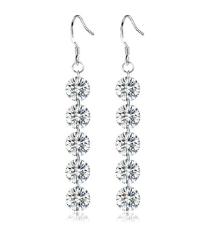14K White Gold Plated Naked IOBI Crystals Drill Earrings For Woman - Party of 5