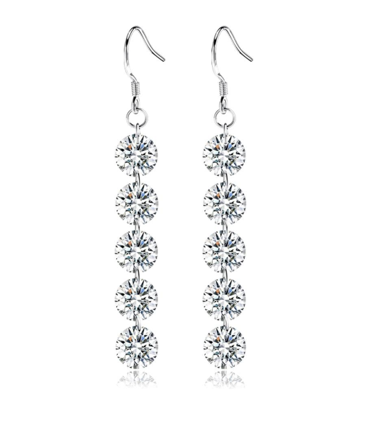Feshionn IOBI Earrings Platinum Naked IOBI Crystals Drill Earrings - Party of 5