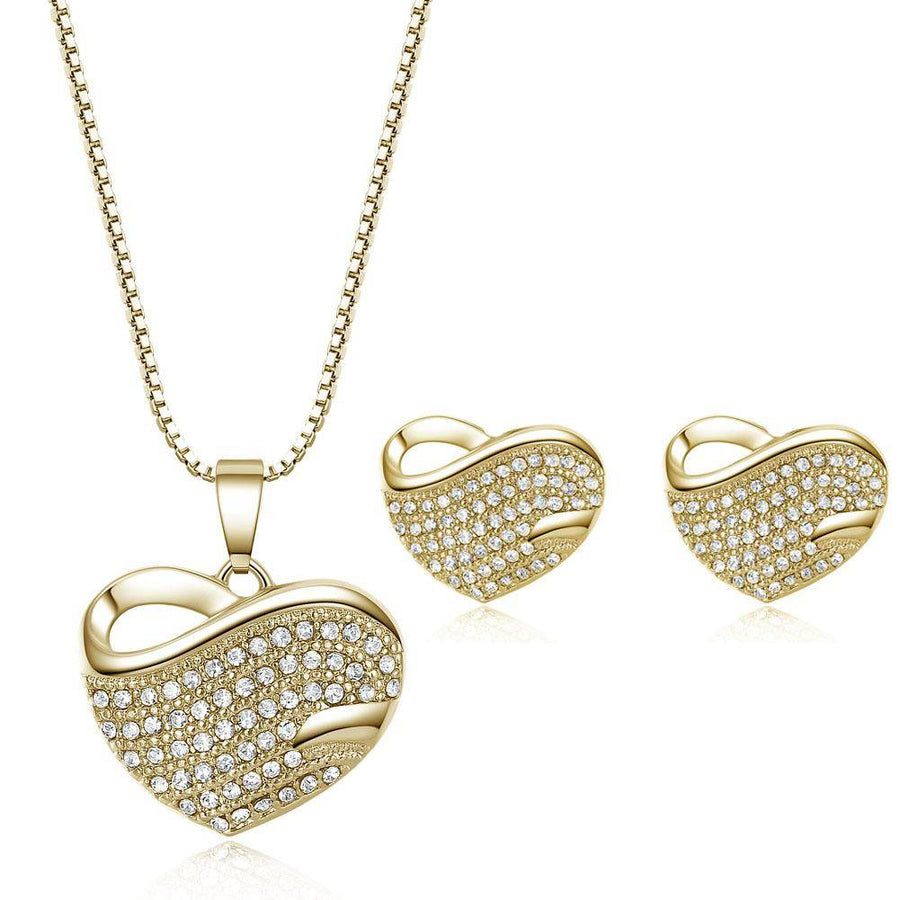 Bold Pavé Hearts Necklace and Earrings Set