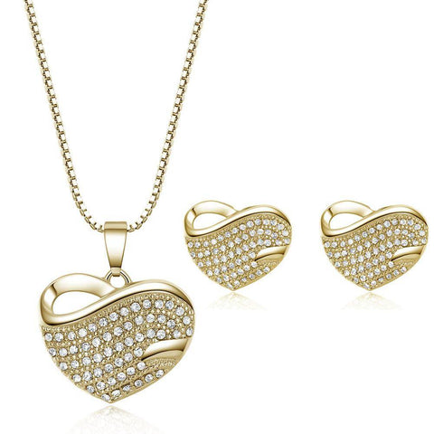 ON SALE - Bold Pavé Hearts Necklace and Earrings Set