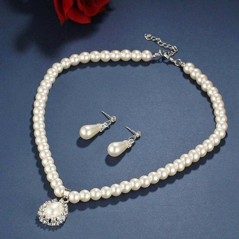 Sparkling Pearl Droplets Necklace and Earring Set
