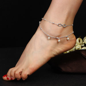ON SALE - Pearl Beads Infinity Double Anklet In Silver or Gold