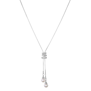 Long Pearl Bead & Crystal Lariat Necklace