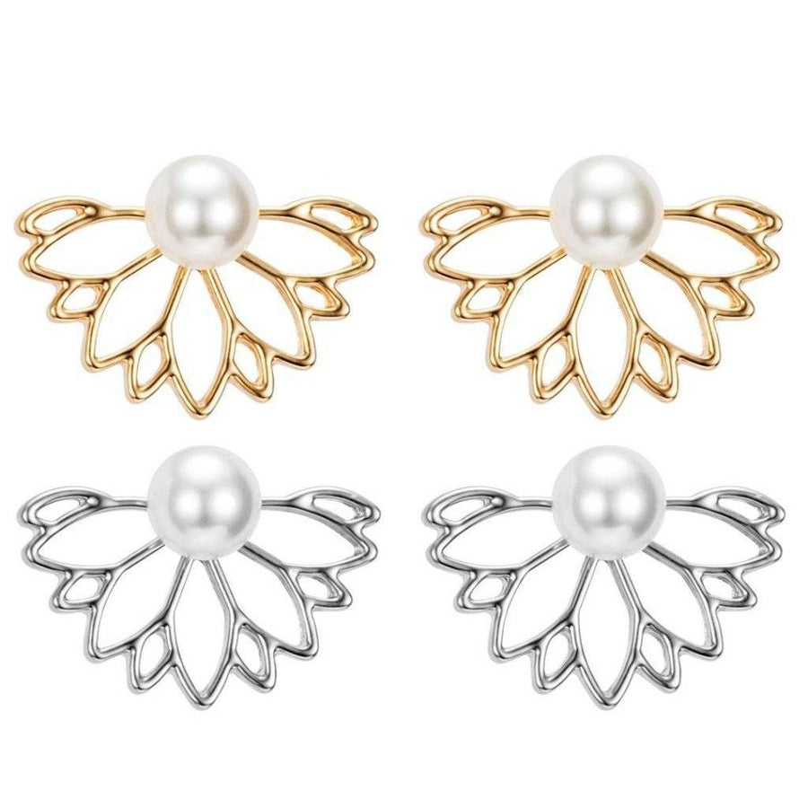 ON SALE - Lotus Flower Pearl Stud Earrings & Jacket
