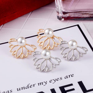 Lotus Flower Pearl Stud Earrings & Jacket