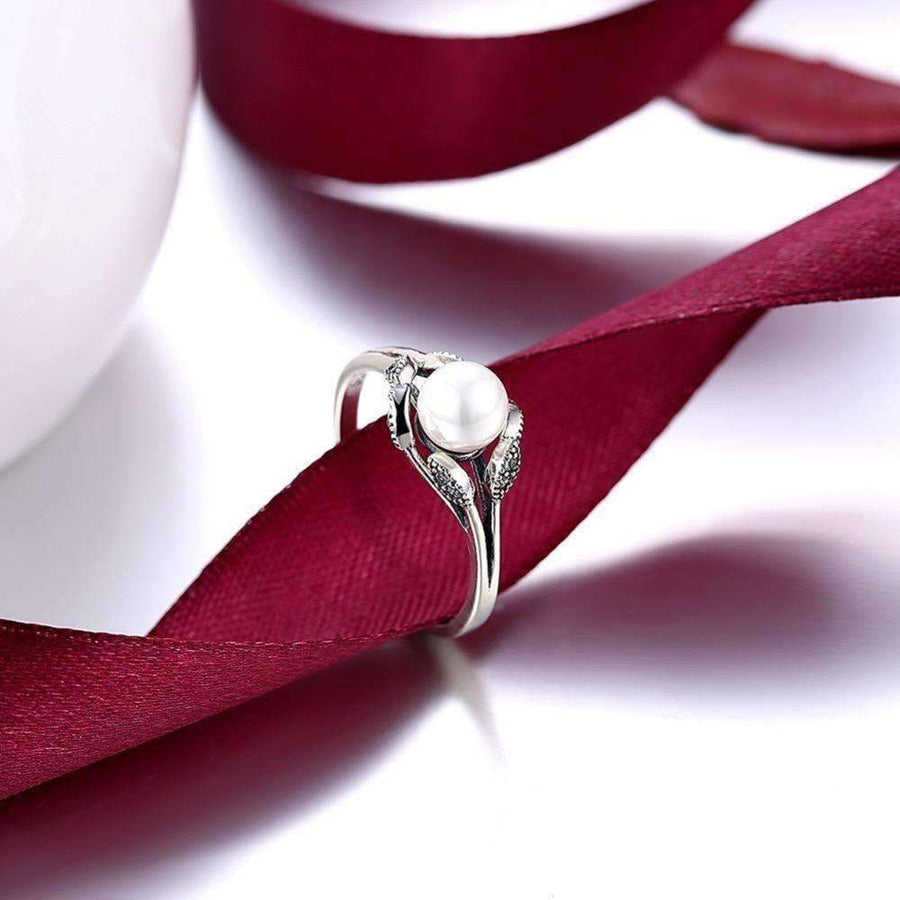 Pearl Blossom Petals and CZ Sterling Silver Ring